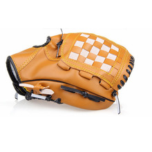 Outdoor Team Sports Brown 10.5inch Baseball Glove Left Hand Softball Gloves for Children PVC Artificial Leather 10.5inch 220g