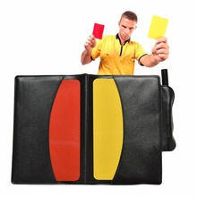 Red/Yellow Football Referee Cards Wallet Pencil Notebooks Set useful equipment