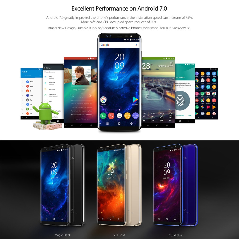 Original Blackview S8 Cell Phone 5.7inch Screen 4GB RAM 64GB ROM MT6750T Octa Core Android 7.0 4G LTE Fingerprint Smartphone