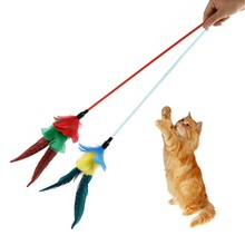 New Turkey Feather Long Wand Stick For Cat Training Catcher Teaser Toy For Pet Kitten Jumping Train Add Turkey Feather Teaser BS(China)