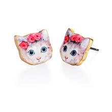2016 New Fashion Cute Oil Animal Stud Earrings Pink Flower Cat Stud Earrings Colorful Pet Earrings for Women Party Gifts