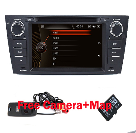 "Capacitive 7""Touch Screen car gps navigation for bmw e90 E91 E92 GPS 3G Bluetooth Radio USB SD Steering wheel Free map Camera(China)"