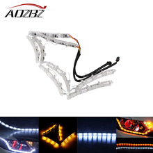 69cm Car LED Strip Headlight Flowing Turn Singal Fog Lamp Daytime Running Light 16pcs LEDS White Amber 2pcs 8W 250LM 500MA(China)