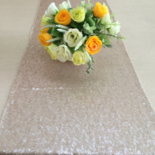 "FOUR Champagne Sequin Table Runner 12"" x 108"" Sequin TableCloth(China)"