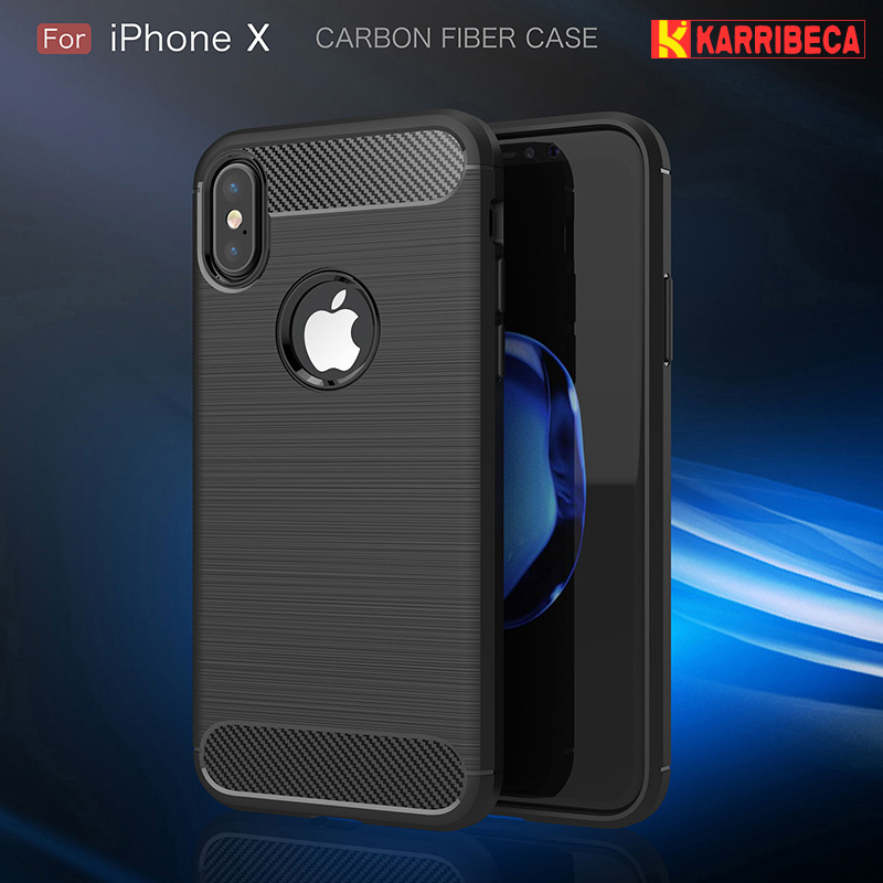Carbon fiber brushed silicone case iphone x (1)