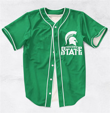 4 Styles Real AMERICAN USA Size Michigan State,no printing on back 3D Sublimation Print Custom made Baseball Jersey Plus Size