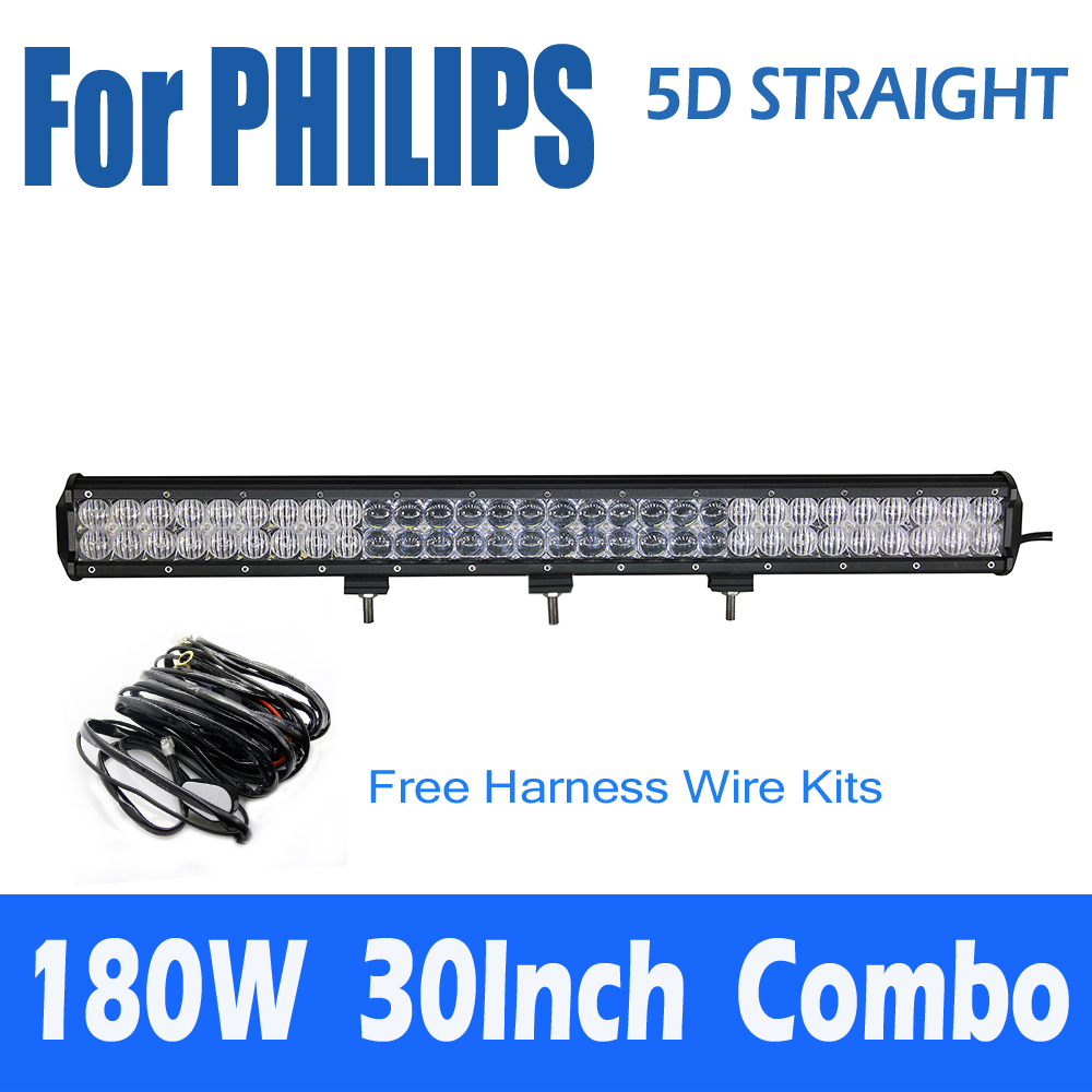 For PHILIPS 5D 180W 32Inch Straight Combo LED Work Light Bar External Car Lights Off-road Driving Lamp 4WD+Free Harness Wire<br><br>Aliexpress