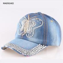 MAERSHEI Women Denim snapback Hat Lady jean hat Point drill pearl cowboy  hat rhinestone crystal( 7f7d5e35e348