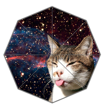Novelty Gift Good Quality Sun Rain Umbrella Funny And Cute Space Cat In Galaxy patten 3 Kids Lady Portable Foldable Umbrellas(China)