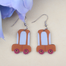 Bonsny bus car cute lovely printing drop earrings acrylic new 2014 design spring/summer style for girls woman jewelry(China)