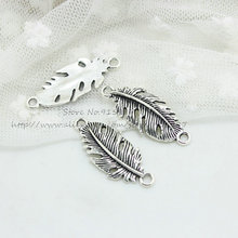 Sweet Bell (30 pieces/lot) 14*35mm Antique Silver Metal Alloy Belt leaf Jewelry Connectors Charms for Bracelet Making D0891