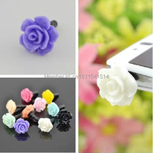 Wholesale 3000pcs Lovely rose Dust plug for iphone dust cap for 3.5mm plug mobile phone free shipping