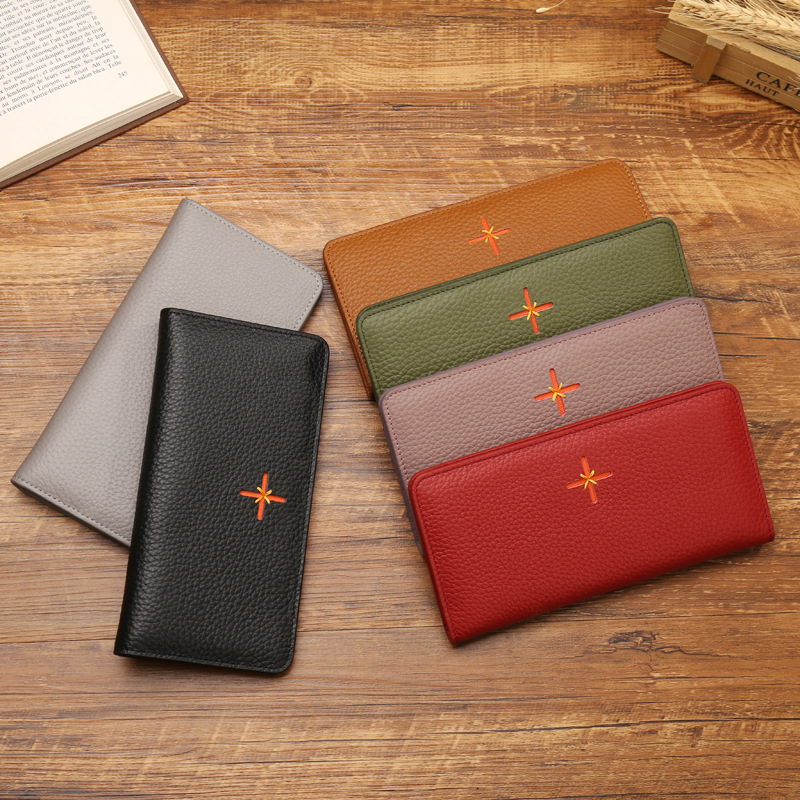 New Korea Style Genuine Leather Wallets Women Real Leather Wallet Phone Pocket Sexy Ladies Card Holders Coin Purse Clutches Bags<br>