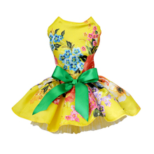 Dog Dress Pets Dogs Puppy Cats Princess Bowknot Floral Dress Pets Costume XS/S/M/L/XL(China)