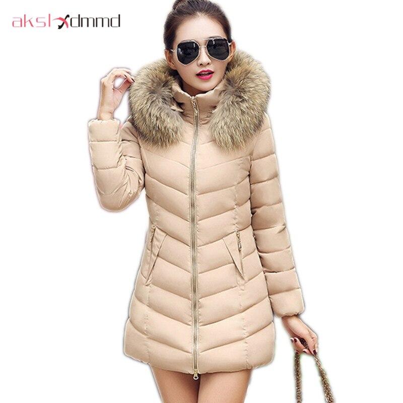 AKSLXDMMD Plus Size Womens Winter Jacket 2017 New Thick Fur Collar Hooded Padded Coat Slim Female Jackets Parkas LH1067Îäåæäà è àêñåññóàðû<br><br>