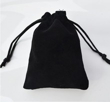 B007 Free shipping 7*9cm high-grade black velvet bag jewelry bags / jewelry box wholesale(China)