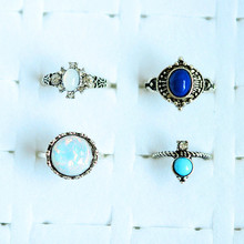 New vintage jewelry metal with antique silver color opal stone finger ring set gift for women girl R5008