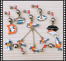 Denver Broncos Custom Mix Navel Piercing 316L Stainless Steel Belly Ring Body Jewelry Navel Belly Piercing(China)