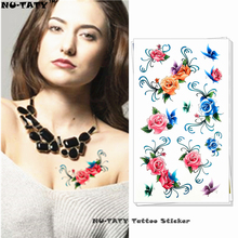 Nu-TATY Blue Red Yellow Rose Style Temporary Body Art Flash Tattoo Sticker 17*10cm Waterproof Tatto Henna Tatoo FREE SHIPPING