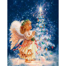 Christmas tree angels 3D DIY diamond painting wall sticker pasted diamond mosaic cross stitch diamond embroidery arts and crafts