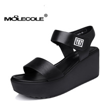 MOOLECOLE Women's Summer Hook & Loop Shoes Heel Height 7.5CM Factory Direct Selling Size EUR35-39 Model 70110(China)