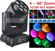 2016 Discount Led Mini Bee Eye Led Moving Head Light Beam Effect 7X15W RGBW 4IN1 LED Lamp 25/55CH Lens Endless Rotate
