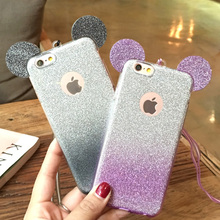 Case For iPhone 7 5 6 S 5S SE 6S Plus 6plus 7plus Cover Unique Fashion 3D Silicon Bling Glitter powder Skin Phone Housing Strap