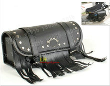 Black tassel PU Tool Bag Fork Handlebar Buckle Bags For Street Bike Dual Sport Bike Chopper Custom Cruisers Motorcycle Bike ATV
