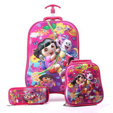Student Kawaii 3D Dora Travel Luggage+School Bag Set/Girls Fashion EVA 16 Inch Trolley Bag+Pencil Case Suit/Kids Brand Suitcase