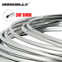 Ironwalls 6mm 3m Chrome Silver Car Auto Styling Moulding Strip Tape Protective Trim Decoration Soft PVC Universal For Truck SUV(China)