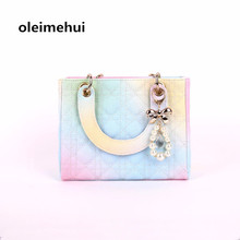 Gradient rainbow color Fashion Square Tote Handbag Branded Lady Daily Clutches Female Women Leather Messenger Shoulder Bag pearl