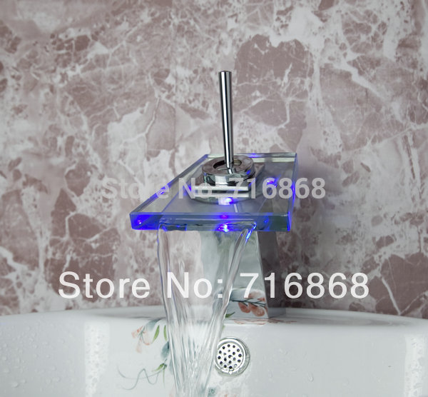 LED Waterfall Glass Spout Chrome Bathroom Wash Basin Sink Mixer Tap basin faucet DS-8007<br><br>Aliexpress