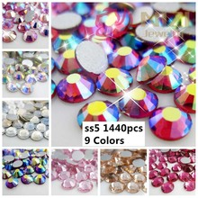 Non Hotfix Strass Glass Crystal Rhinestones 1440pcs ss5 1.7-1.9mm Many Colors Manicure Shiny 3D Nail Art Ring Stud Products DIY
