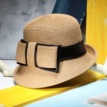 Women Elegant Retro Straw Hat Ladies Bow Sun Hat Fedoras Summer Beach Caps Capeline Chapeaux Femme(China)