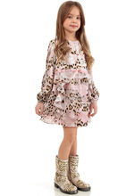 Full Sleeve Girls Dress Silk Chiffon Brand Kids Dresses with Leopard Print Lace 2016 New Arrival Spring Summer Christmas Dress(China)