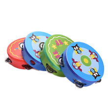 Hand Held Tambourine Drum Bell Baby Kids Wooden Musical Toys Drum Rattles Toy Tambourine Educational Toys Gift
