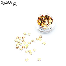 Rolabling 1PC/BOX Gold Snow Flake Design Nail Glitter Powder Dust Nail Art Design UV Gel Polish Manicure Accessories Tool