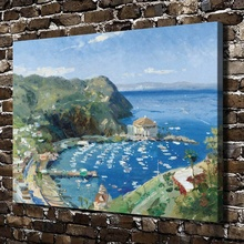 H1030 Thomas Kinkade Catalina View From Mt. Ada, HD Canvas Print Home decoration Living Room Bedroom Wall pictures Art painting(China)