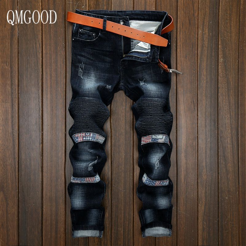 QMGOOD Hot Sale Men Men Jeans Motorcycle Pants Black Gray Blue European and American Mens Jeans 34 36 38 Elastic Slim Feet FoldÎäåæäà è àêñåññóàðû<br><br>