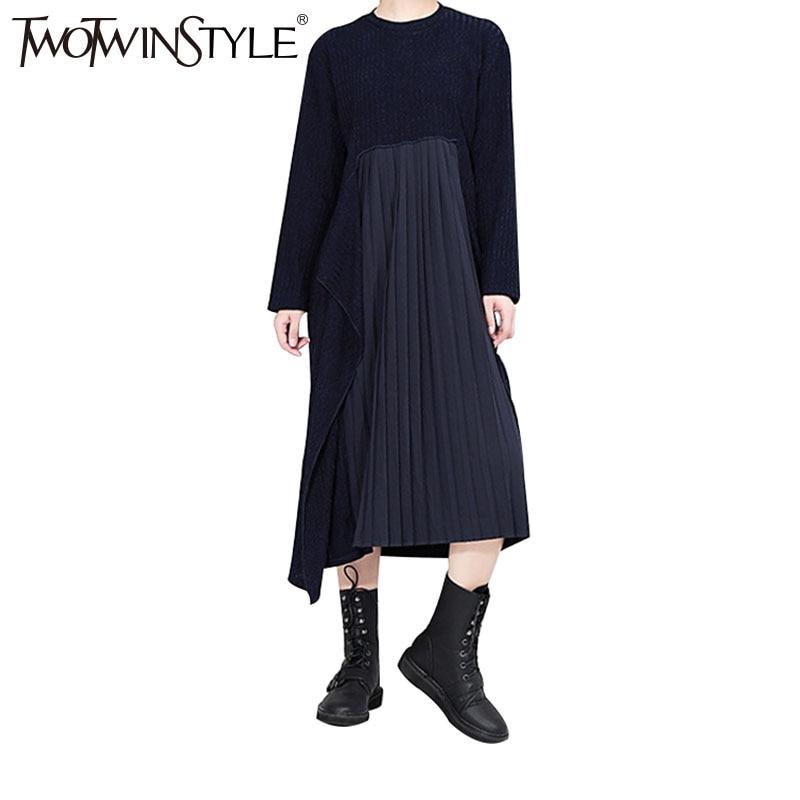TWOTWINSTYLE 2017 Knitted Chiffon Autumn Midi Long Dress Female Pleated Blue Dresses for Women Casual Korean Fashion ClothingÎäåæäà è àêñåññóàðû<br><br>