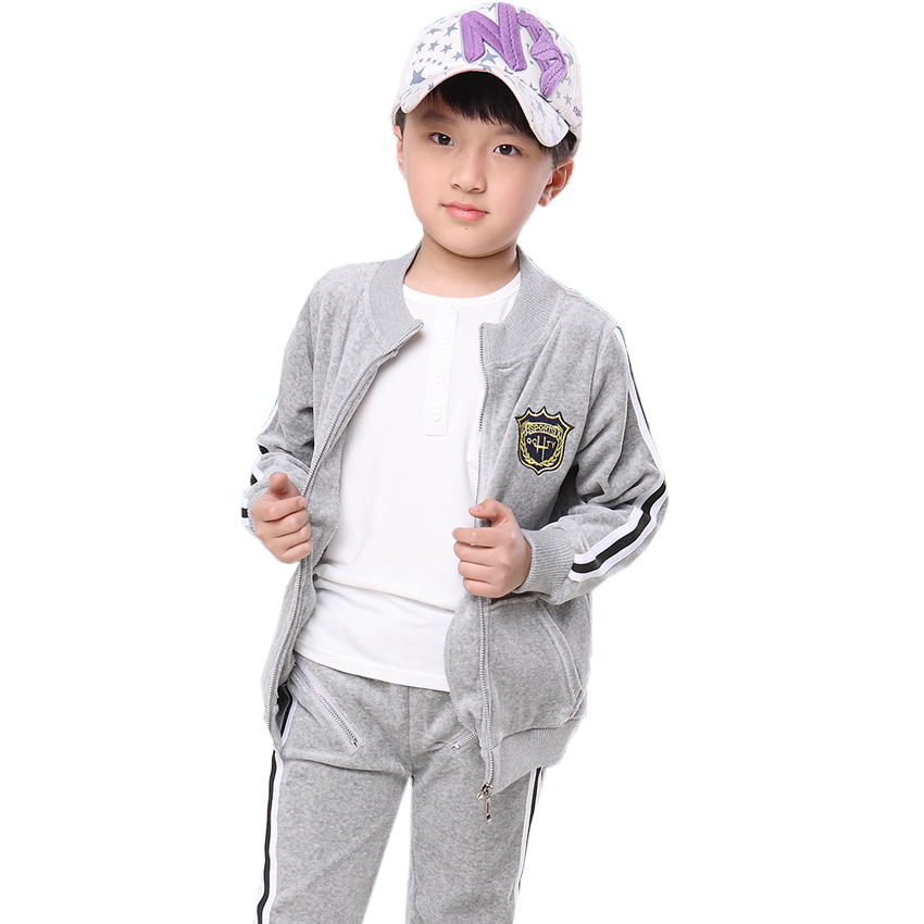 Boy Clothing Sets Brand Kids Clothes Quality Velvet Cotton Sports Suit Childrens Sports Suit For Boys Spring Autumn Size 3 - 13<br>