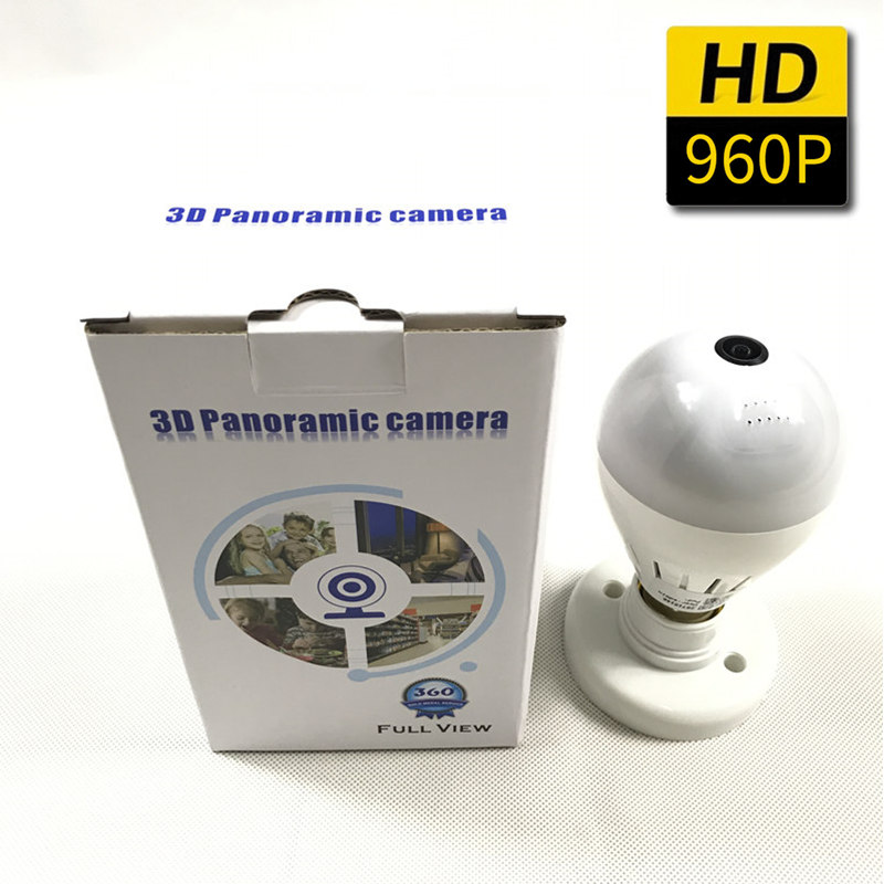 Bulb Light With Wireless IP Camera Wi-fi FishEye 960P 360 degree Mini CCTV VR Camera 1.3MP Home Security WiFi Camera Panoramic<br>