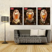Unique cartoon wall canvas painting funny man and beer wall pictures for bar decoration hot sales 3 panels art free shipping