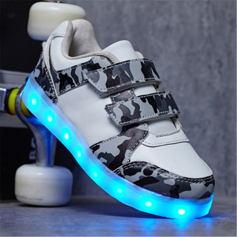 Usb Charger Lighted Shoes For Boy Girl Sneakers Led Shining Shoes For Children Sneakers Lights Spring Summer 2017 50Z0011<br>
