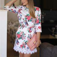 Women Dresses Lace Sexy Summer Mini Dress Three Quarter Sleeve Floral Printed Party Dress O-Neck Empire A-Line Femme Vestidos