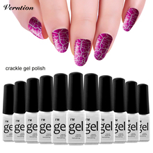 New Arrival Crackl Nail polish Cracking 12 Colorful Gel Lacquer soak off Professional Crackle Shatter Color Gel Varnish(China)