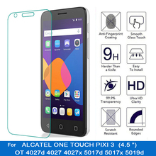 Tempered glass for alcatel one touch pixi 3 4.5 inch ot 4027d 4027 4027x 5017d 5017x 5019d screen protector HD front lcd film