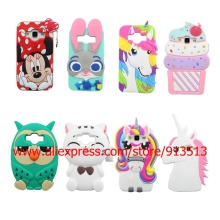 Owl Minnie Ice Cream Cupcakes Unicorn Judy Pocket Cat 3D Silicone Case Cover For Samsung Galaxy Core Prime G360H / J1 / J1 Ace(China)