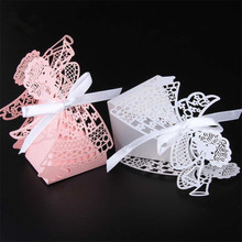 Laser Cut Angel Candy Box 50pcs/lot Pink White Favor Box Baby Shower Favors and Gifts Baptism Birthday Souvenirs for guests