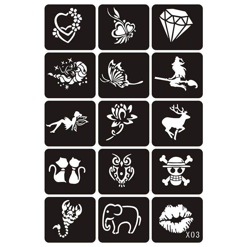 15 шт. небольшой блеск Трафареты для тату женщина девочки; Дети Шаблон рисунка, цветок бабочка мультфильм аэрограф татуировки трафарета 64.8 с...(China)